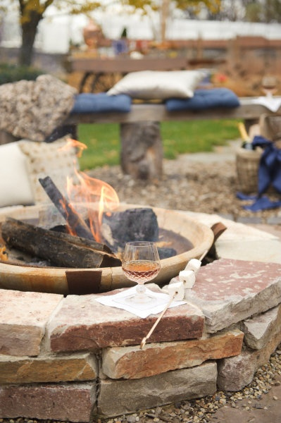 Simple backyard get together can still be fun with a fire pit and s'mores!