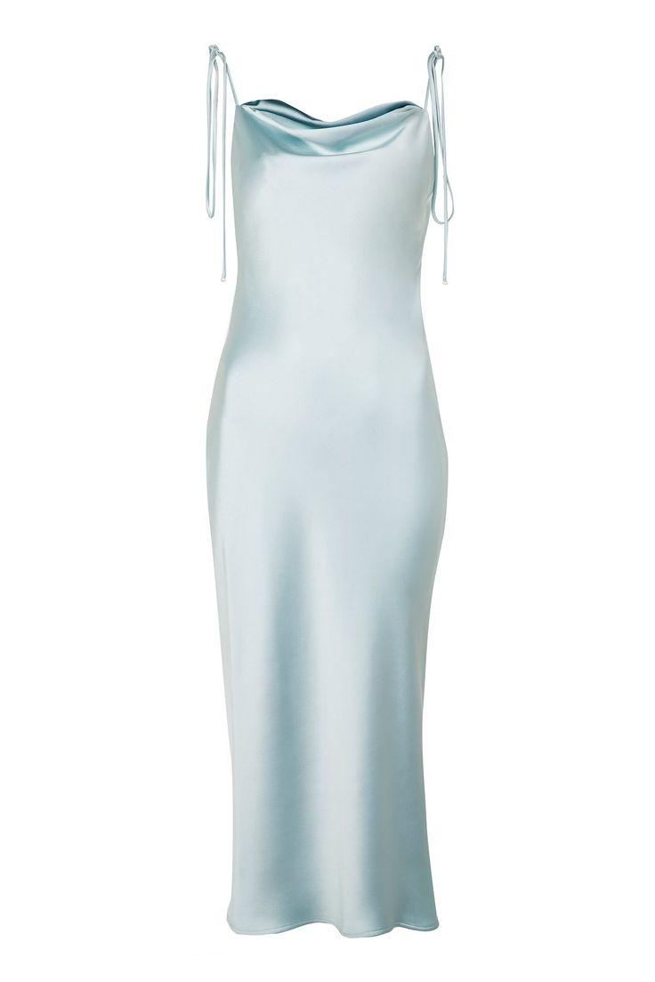 **Cowl Tie Satin Slip Dress