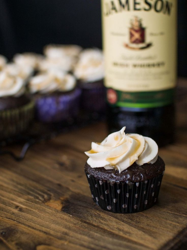 Chocolate Stout Cupcakes with Whiskey Buttercream and Salted Caramel! #Dessert