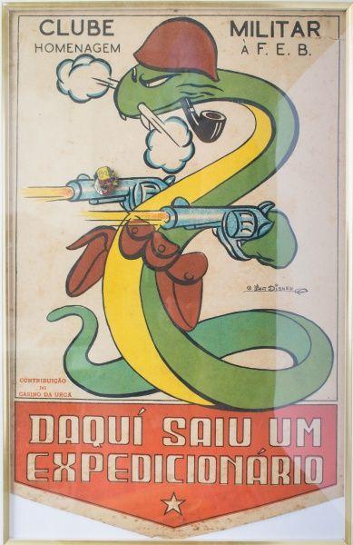 Folheto, F.E.B. Emoldurado, 24 x 34cm. A famosa Cobra Fumando, criação de Walt Disney. Homenagem à F.E.B. Clube militar, contribuição do Cassino da Urca. Alfinete colocado no desenho. Pequenas rupturas e manchas.