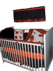 Harley Davidson Baby Bedding Flames Custom Made Crib Set W
