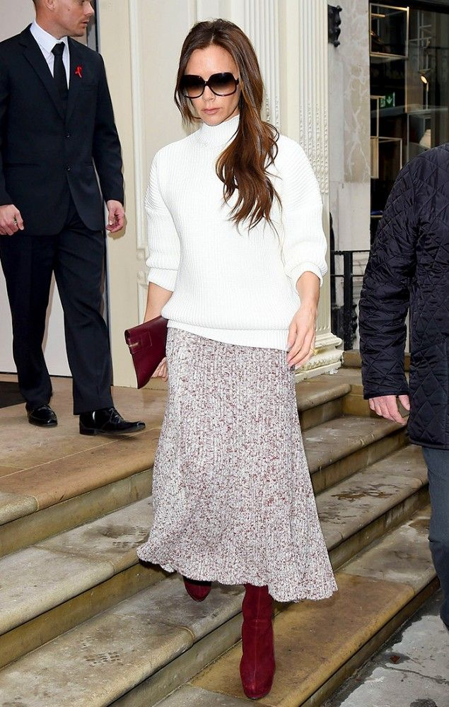 Victoria Beckham's ribbed sweater + midi skirt + knee-high boots