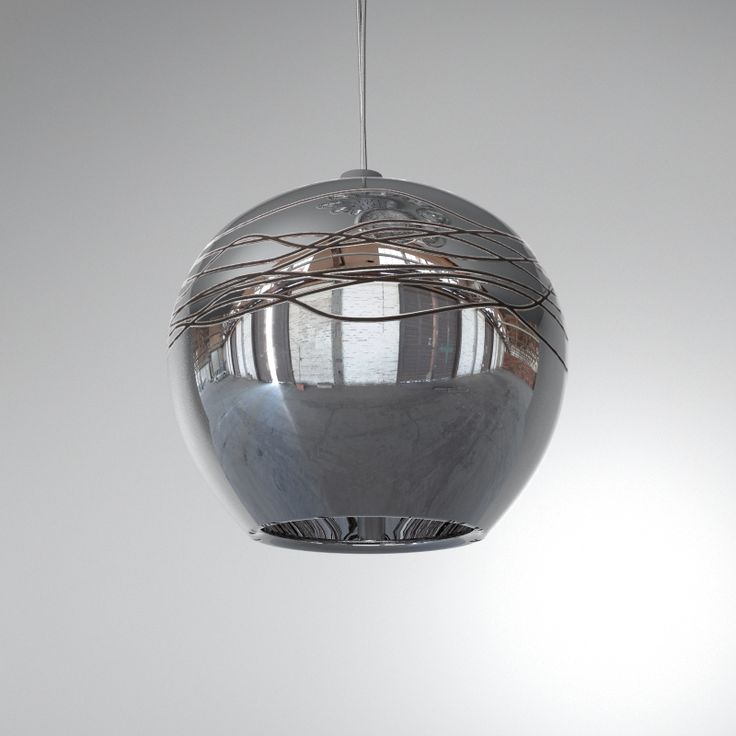 Aire - Hanging glass pendand dark metallic shade with decor