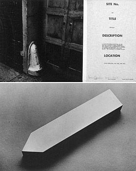 """Dennis Oppenheim - marcador do site # 1 - # 10-1967Sítio marcador # 1 - # 10 1967 1 """"x 2"""" x 9 1/2 """" """". Energia usada na fabricação de objetos é usado agora em localizar-lhes esta arte ocupou oito meses de minha vida - eu comecei a viajar.""""  branqueado e alumínio, cilindros de plástico e papel vegetal anodizado."""