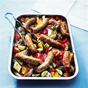 Oven-roasted sausages with ratatouille Recipe | delicious. Magazine free recipes