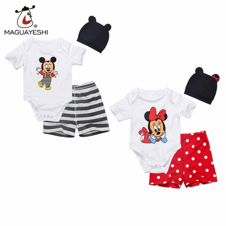 Newborn Baby Girls Clothing Set 3pcs (Romper Hat Pants) Infant Jumpsuits Cartoon Mickey Baby Sets Baby Boys Clothes Roupas Bebes