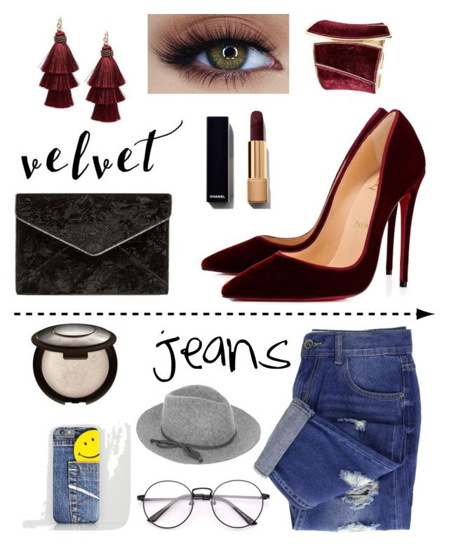 """~velvet & jeans~"" by saga-rose on Polyvore featuring Rebecca Minkoff, Christian Louboutin, Design Lab, Accessorize and GUESS by Marciano"
