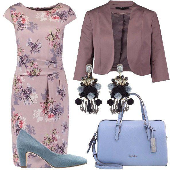 Un+outfit+dai+colori+delicati+e+femminili.+L'abito+a+manica+corta+è+in+fantasia+floreale,+sopra+un+cardigan+senza+chiusura.+Completano+il+look+una+borsa+a+bauletto+con+tracolla+in+nuance+con+le+scarpe+dalla+punta+tonta+ed+uno+sfizioso+paio+di+orecchini.