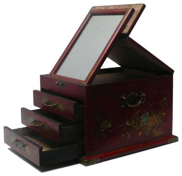 Chinese Red Flower Bird Mirror Jewelry Box asian-storage-boxes