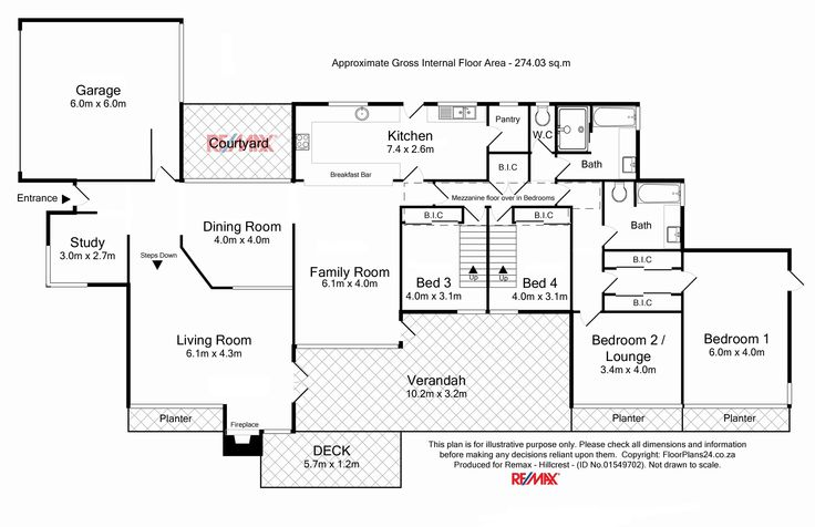 4 Bedroom House 274 sq.m - FloorPlan for Remax Hillcrest - Classic Layout - FloorPlans24 delivers a solution that works for YOU – Talk to us…