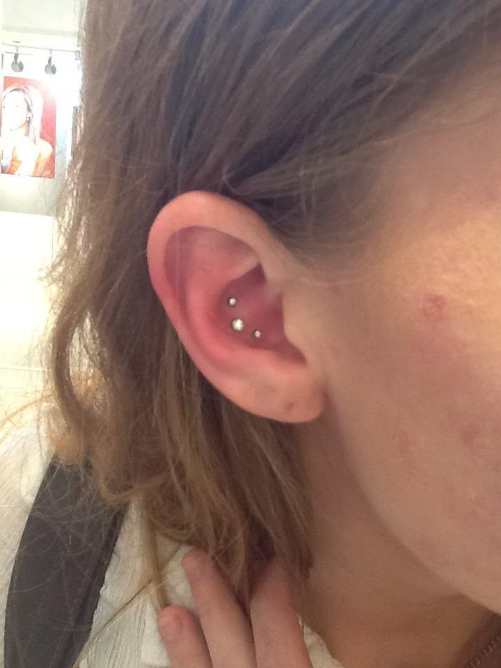 Yay triple conch piercing