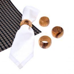 Set of 4 Olive Wood Handmade Wooden Napkin Rings - Napkin Holders