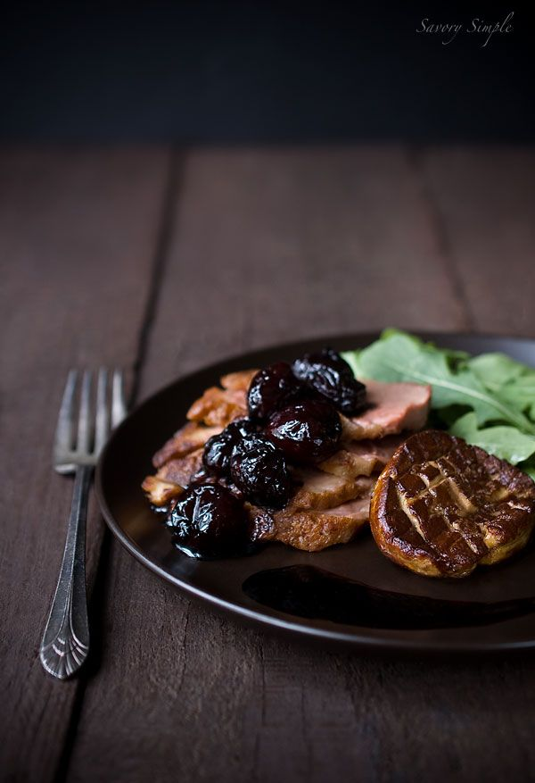 Duck with Seared Foie Gras  Balsamic Cherries!