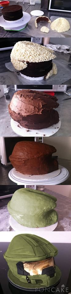 Process to a Halo Helmet cake                                                                                                                                                                                 More