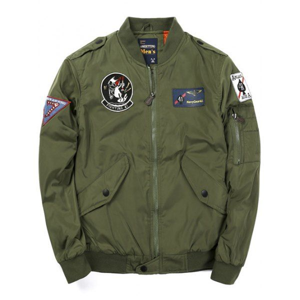 Zip Up Badge Patched Bomber Jacket - ARMY GREEN 3XL