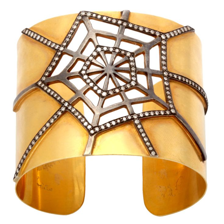 Cuff | Rebecca Koven. 'Web'.  18k gold with an oxidized 18kt gold web and diamonds. #jewelry