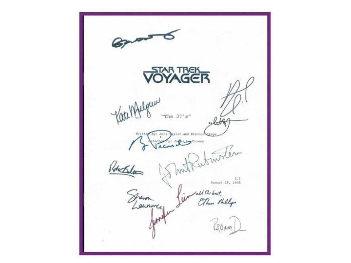 "Star Trek Voyager ""The 37's"" Episode TV Script Autographed: Kate Mulgrew, Robert Beltran, Roann Dawson, Jennifer Lien, Robert Duncan"