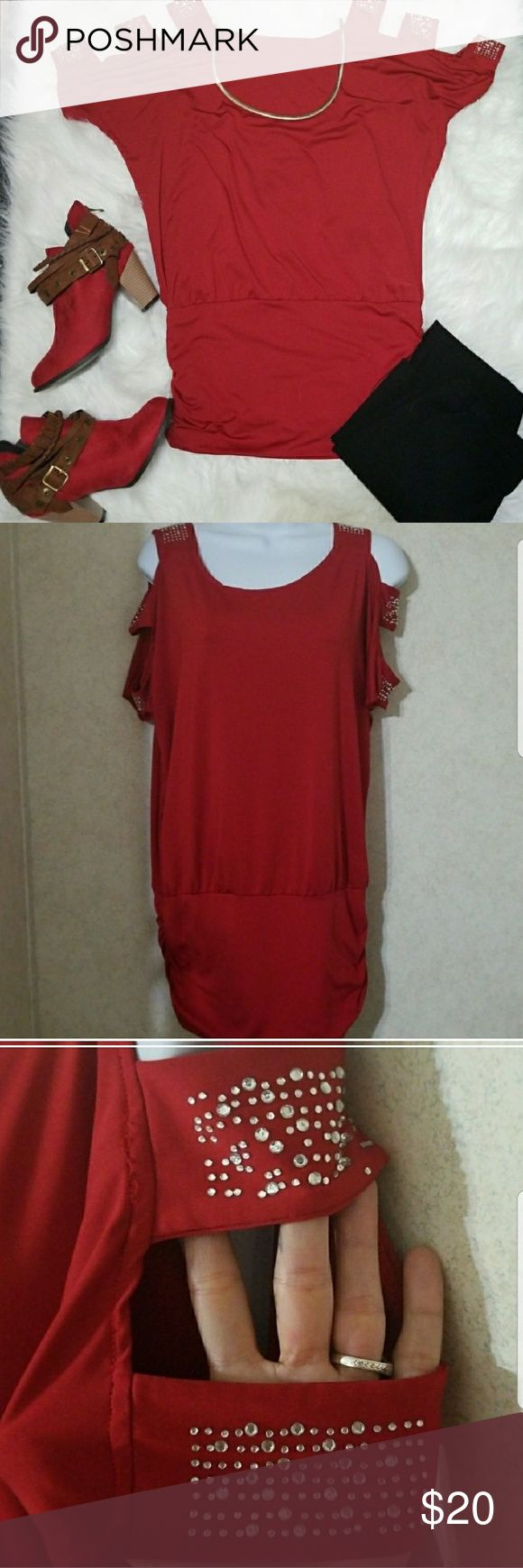 Strappy Sparkly red tunic/dress Red stretchy red tunic with peek a boo shoulders with rhinestones all stones intact can be worn as shirt or dress Tops Tunics