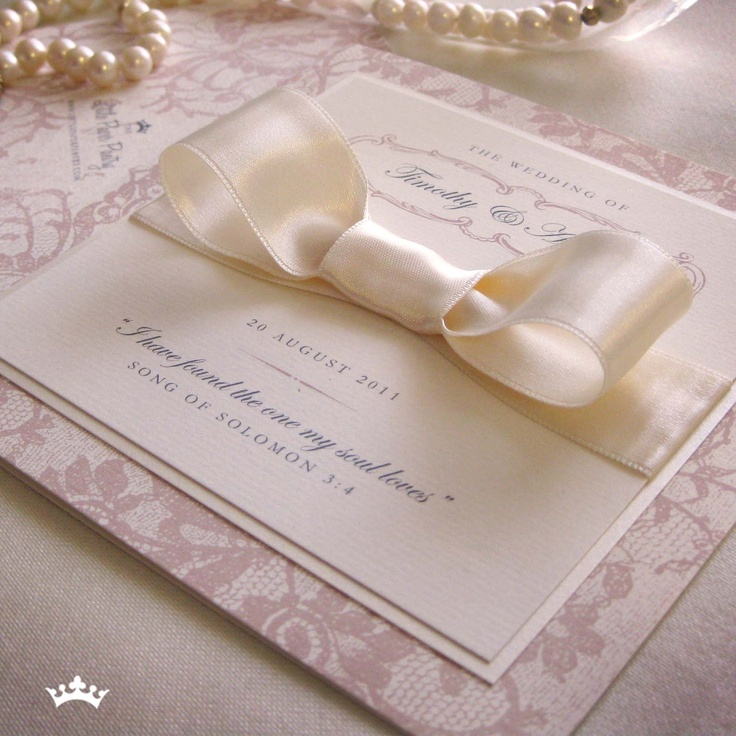 tie ribbon wedding invitation%0A French Lace Cookies Rose  folded invite with lace design patttern  a  double mount on the frontand a flat satin bow