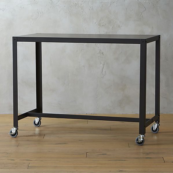go-cart carbon rolling counter table-stand up desk  | CB2