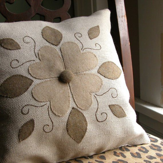 Folk Art Floral Applique Pillow by giardino on Etsy, $50.00