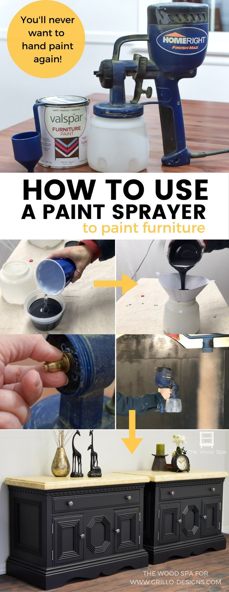 Paint Sprayer tutorial - A step by step guide shared by The Wood Spa on how to use a paint sprayer gun to paint furniture the right way!