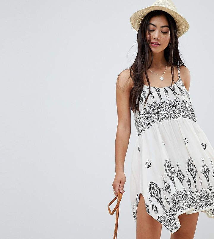2ae15a7148 Petite ASOS DESIGN bandana print placement hanky hem beach dress in white |  perfect swim suit coverup or tropical vacation mini dress in a flowy  geometric ...