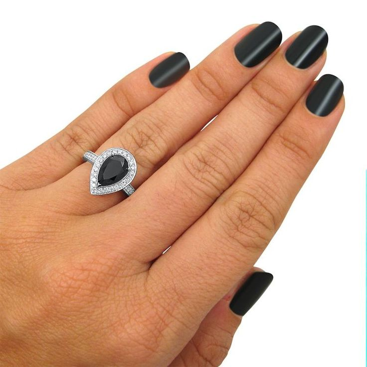 2.37ct Black Diamond Pear Shape Vintage Style Engagement Ring 14k White Gold / Front Jewelers