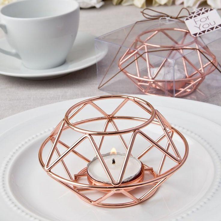 20 Geometric Design Rose Gold Metal Tea light Candle Holder Wedding Gift Favors in Home & Garden, Wedding Supplies, Candles & Candle Holders | eBay