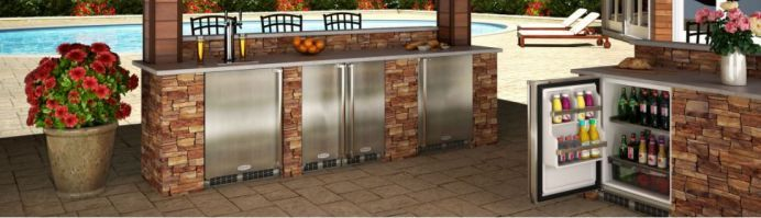 Marvel outdoor refrigerators are the perfect match for your professional-style outdoor kitchen. http://www.jchuffman.com/products/appliances/aga-app/