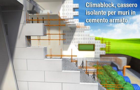 Blocchi isolanti Climablock per muri isolanti in cemento armato.