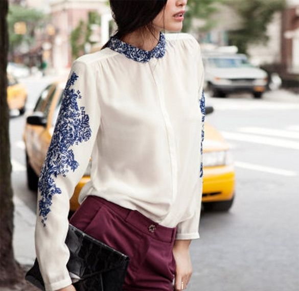New Women's Top Casual Blue And White Porcelain Chiffon Shirt Blouse Long Sleeve T-Shirt