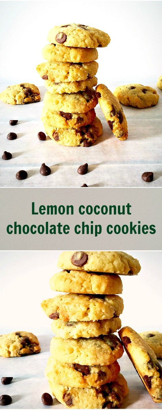 Lemon coconut chocolate chip cookies, so flavourful and moist, almost ...