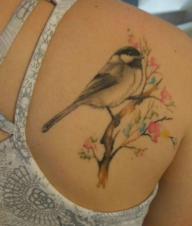 Love my tattoo! #chickadee #watercolor
