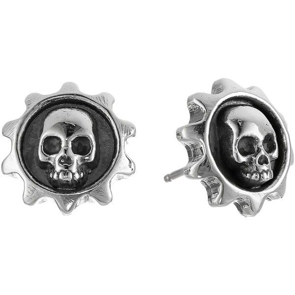 King Baby Studio Gear Skull Post Earrings Earring ($145) ❤ liked on Polyvore featuring jewelry, earrings, accessories, silver, skull jewellery, skull earrings, skull jewelry, earrings jewelry and post earrings