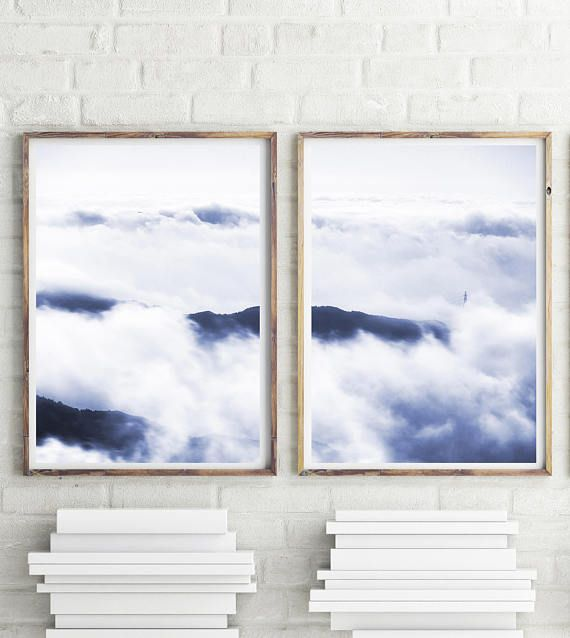 Mountain Photography Scandinavian Wall Art Clouds Print