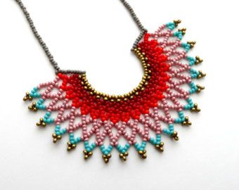 Peyote beaded Turquoise and Orange Mexican by LucianaLavin on Etsy