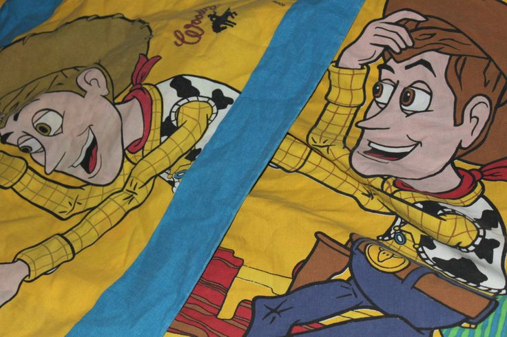 Toy Story Single Bed Duvet Cover  & Pillowcase.  Woody the Cowboy and Buzz Lightyear Andy's Bedding by AtticBazaar on Etsy