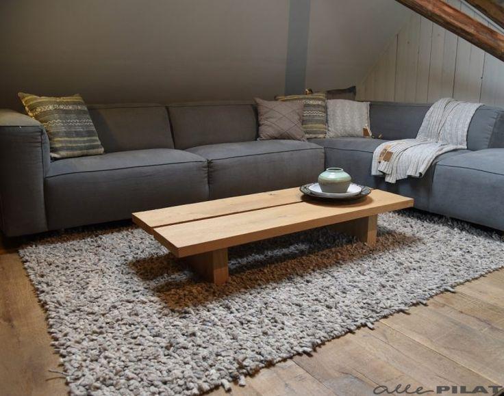Eiken salontafel Twa Plank heeft een boomstam effect door de twee extra brede planken - Woonwinkel Alle Pilat