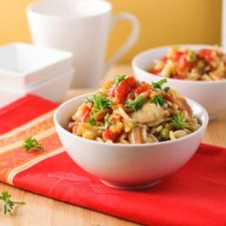 This Satisfying Orzo Chicken Asiago is easy and nutritious!