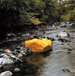 """Andy Goldsworthy. Boulder covered in yellow leaves - """"Life is full of surprises and the unexpected."""""""