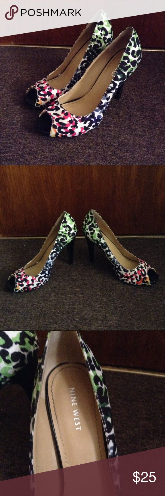Rainbow Cheetah Heels Perfect statement shoes. Tag says 9 but fits more like an 8.5. Only worn once or twice. Nine West Shoes Heels