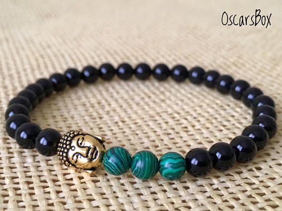 Black Agate Bracelet | Malachite bracelet | Buddha bracelet | Mens Bracelet | 6mm Black Agate Bracelet | Beaded bracelet | Stretch Bracelet