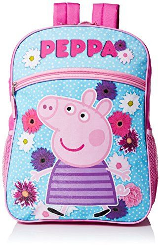 Peppa Pig Girl's 16 Inch Backpack Flower Power, Multi, One Size