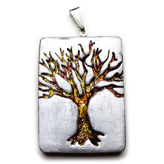 Colgante árbol de polímero arcilla--árbol brillante en plata, oro y cobre