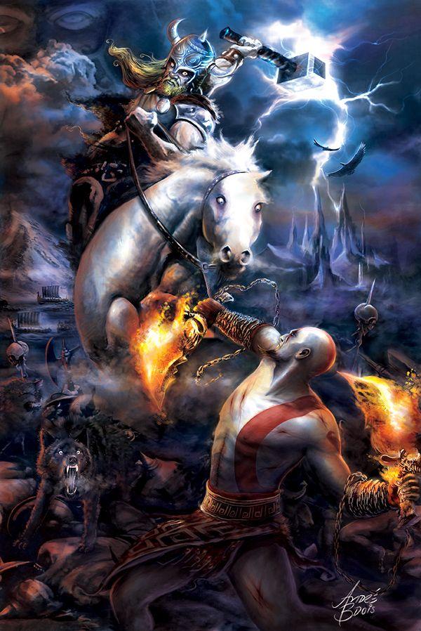 Thor vs. Kratos by andrebdois on deviantART