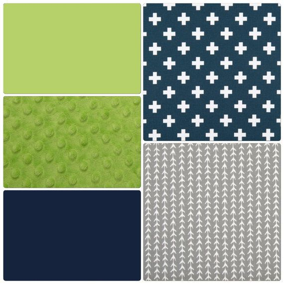 Navy Lime Green and Gray Baby Boy Crib by butterbeansboutique