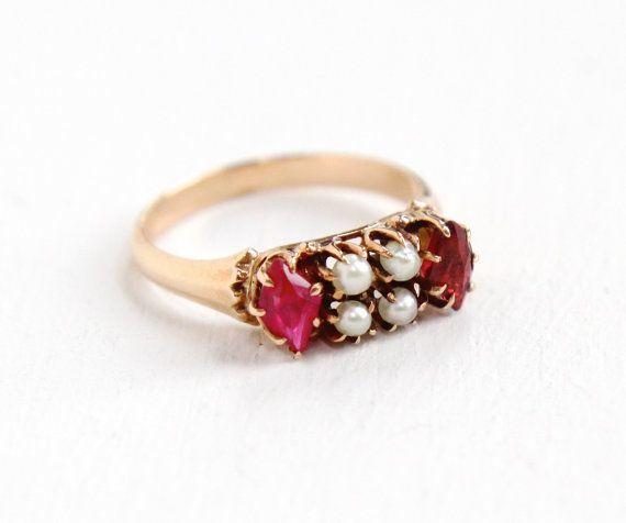 D'epoca vittoriana 10k Ruby Rose Gold & granato seme perla anello - gioielli Vintage fine Ottocento gemma rossa