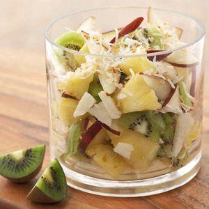 Kiwifruit fruit salad with lime-honey dressing