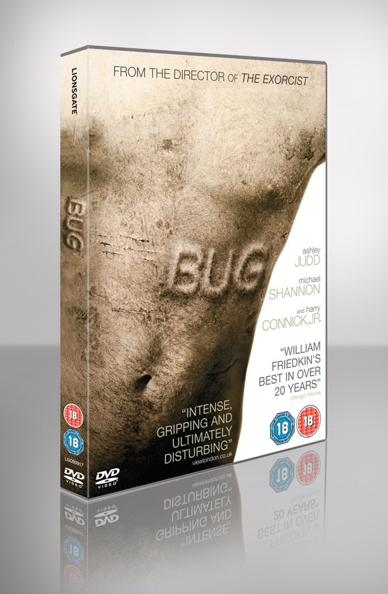 Bug DVD/onbody design for Lionsgate Films. A lonely waitress with a tragic past, Agnes (Judd) rooms in a run-down motel, living in fear of her abusive, recently paroled ex-husband (Connick Jr.). When Agnes begins a tentative romance with Peter (Shannon), an eccentric, nervous drifter, she starts to feel hopeful again - until the first bugs arrive...